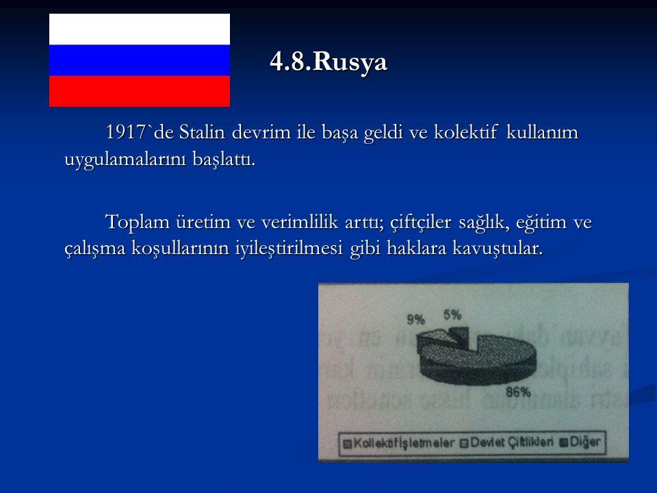 4.8.Rusya 1917`de Stalin devrim ile başa geldi ve kolektif kullanım uygulamalarını başlattı.
