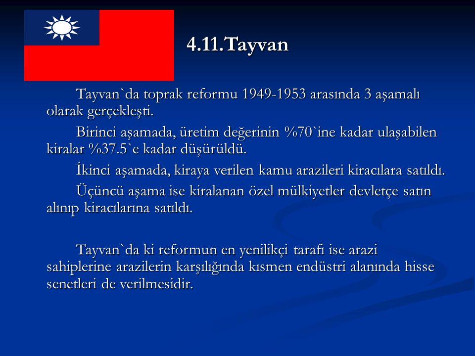4.11.Tayvan Tayvan`da toprak reformu 1949-1953 arasında 3 aşamalı olarak gerçekleşti.