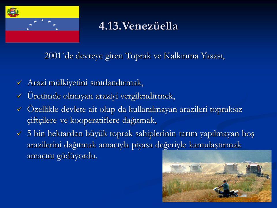 4.13.Venezüella 2001`de devreye giren Toprak ve Kalkınma Yasası, Arazi mülkiyetini sınırlandırmak, Arazi mülkiyetini sınırlandırmak, Üretimde olmayan araziyi vergilendirmek, Üretimde olmayan araziyi vergilendirmek, Özellikle devlete ait olup da kullanılmayan arazileri topraksız çiftçilere ve kooperatiflere dağıtmak, Özellikle devlete ait olup da kullanılmayan arazileri topraksız çiftçilere ve kooperatiflere dağıtmak, 5 bin hektardan büyük toprak sahiplerinin tarım yapılmayan boş arazilerini dağıtmak amacıyla piyasa değeriyle kamulaştırmak amacını güdüyordu.