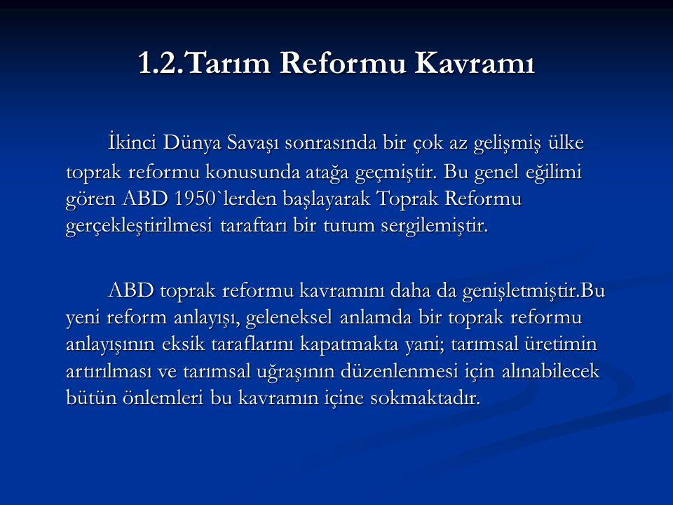 1.2.Tarım Reformu Kavramı İkinci Dünya Savaşı sonrasında bir çok az gelişmiş ülke toprak reformu konusunda atağa geçmiştir.