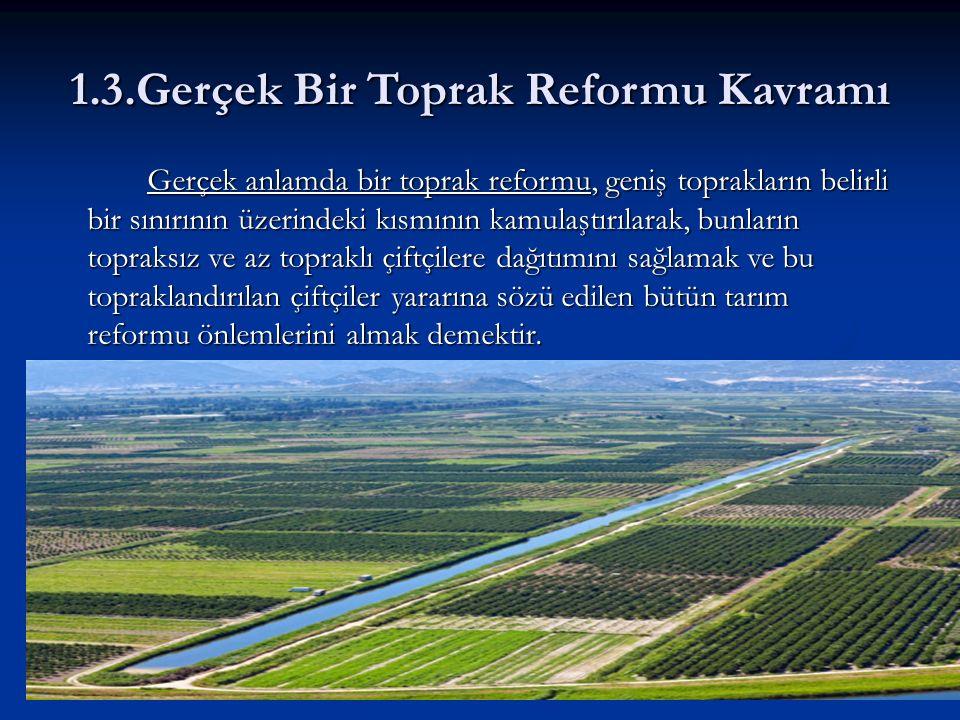 1.3.Gerçek Bir Toprak Reformu Kavramı Gerçek anlamda bir toprak reformu, geniş toprakların belirli bir sınırının üzerindeki kısmının kamulaştırılarak, bunların topraksız ve az topraklı çiftçilere dağıtımını sağlamak ve bu topraklandırılan çiftçiler yararına sözü edilen bütün tarım reformu önlemlerini almak demektir.