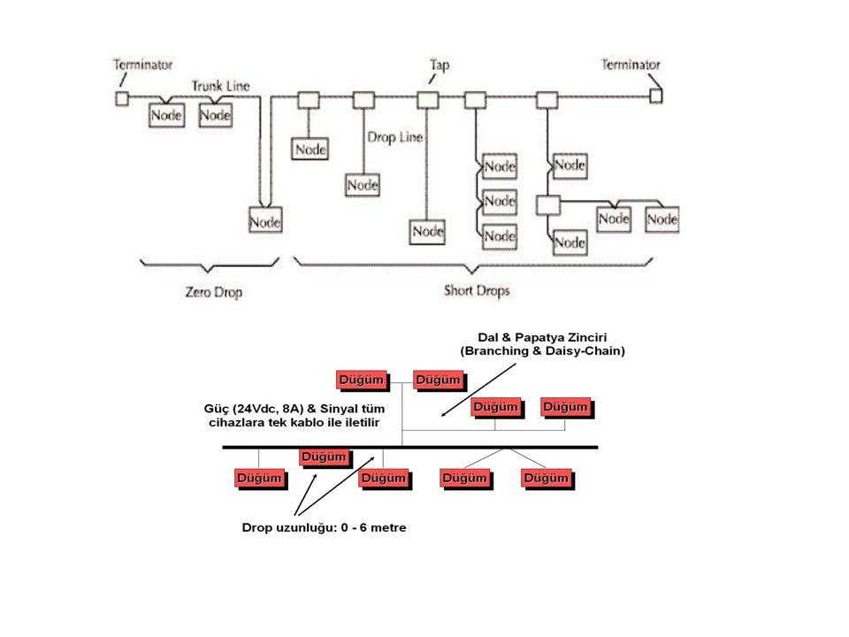VERİ ORANLARI125 KBPS250 KBPS500 KBPS Kalın Trunk Uzunluğu500 m250 m100 m İnce Trunk Uzunluğu100 m Yassı Trunk Kablo380 m200 m75 m Maksimum Nokta Uzaklığı6m Kümülâtif Nokta Uzaklığı156 m78 m 39 m