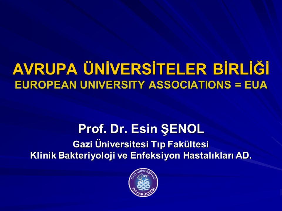 AVRUPA ÜNİVERSİTELER BİRLİĞİ EUROPEAN UNIVERSITY ASSOCIATIONS = EUA Prof. Dr. Esin ŞENOL Gazi Üniversitesi Tıp Fakültesi Klinik Bakteriyoloji ve Enfek