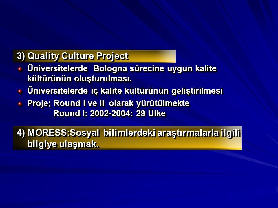 3) Quality Culture Project Üniversitelerde Bologna sürecine uygun kalite kültürünün oluşturulması. Üniversitelerde iç kalite kültürünün geliştirilmesi