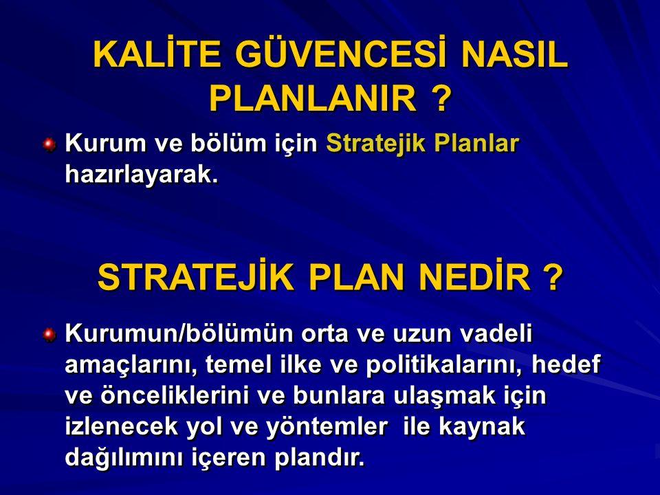 KALİTE GÜVENCESİ NASIL PLANLANIR ? Kurum ve bölüm için Stratejik Planlar hazırlayarak. STRATEJİK PLAN NEDİR ? Kurumun/bölümün orta ve uzun vadeli amaç