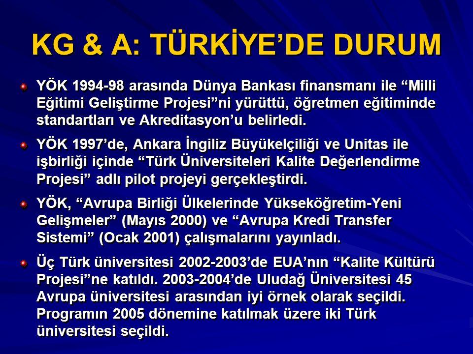 """KG & A: TÜRKİYE'DE DURUM YÖK 1994-98 arasında Dünya Bankası finansmanı ile """"Milli Eğitimi Geliştirme Projesi""""ni yürüttü, öğretmen eğitiminde standartl"""