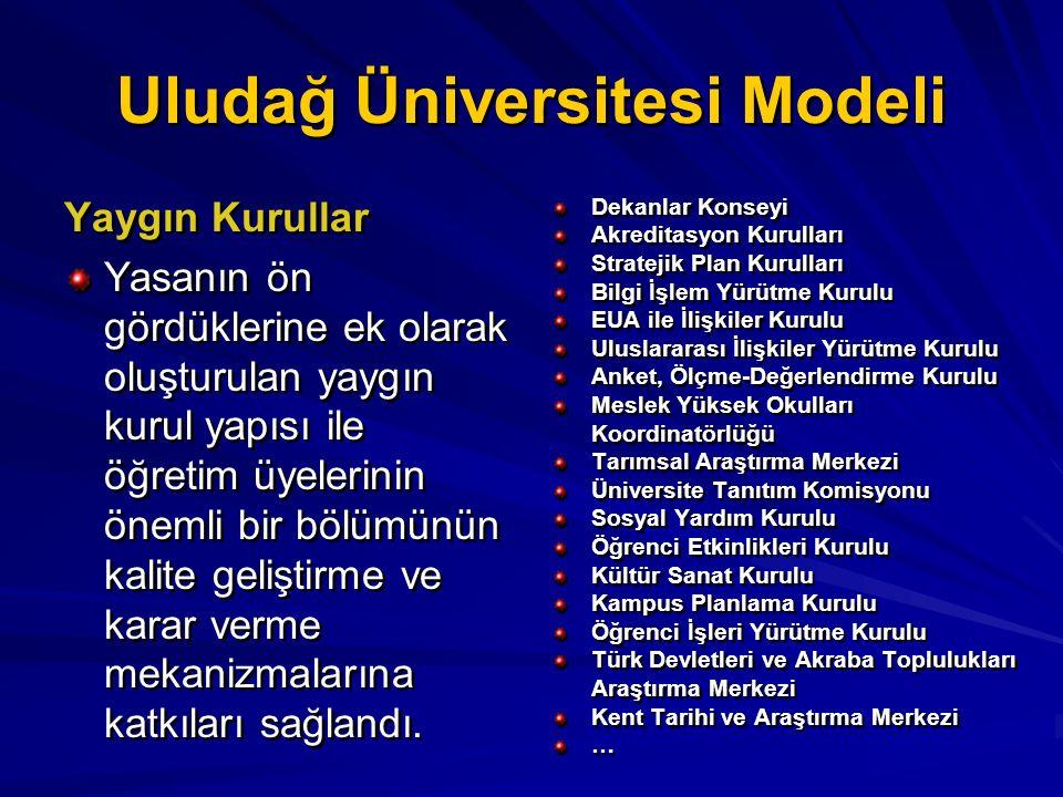 Uludağ Üniversitesi Modeli Yaygın Kurullar Yasanın ön gördüklerine ek olarak oluşturulan yaygın kurul yapısı ile öğretim üyelerinin önemli bir bölümün
