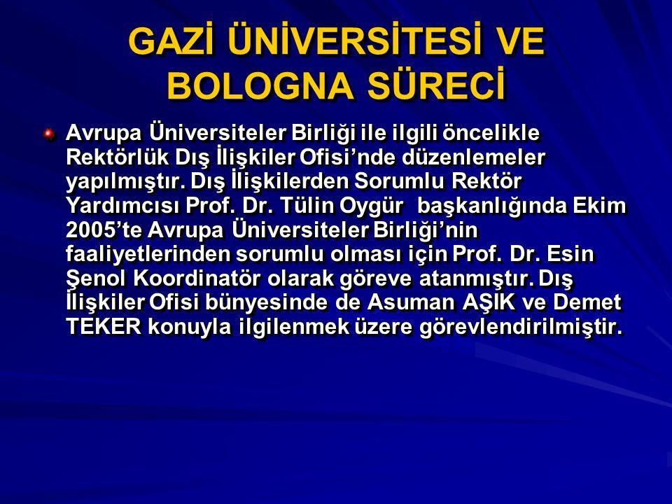Avrupa Üniversiteler Birliği ile ilgili öncelikle Rektörlük Dış İlişkiler Ofisi'nde düzenlemeler yapılmıştır. Dış İlişkilerden Sorumlu Rektör Yardımcı