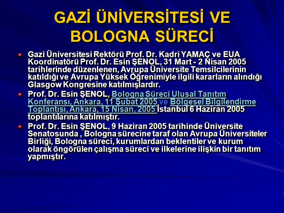 GAZİ ÜNİVERSİTESİ VE BOLOGNA SÜRECİ Gazi Üniversitesi Rektörü Prof. Dr. Kadri YAMAÇ ve EUA Koordinatörü Prof. Dr. Esin ŞENOL, 31 Mart - 2 Nisan 2005 t