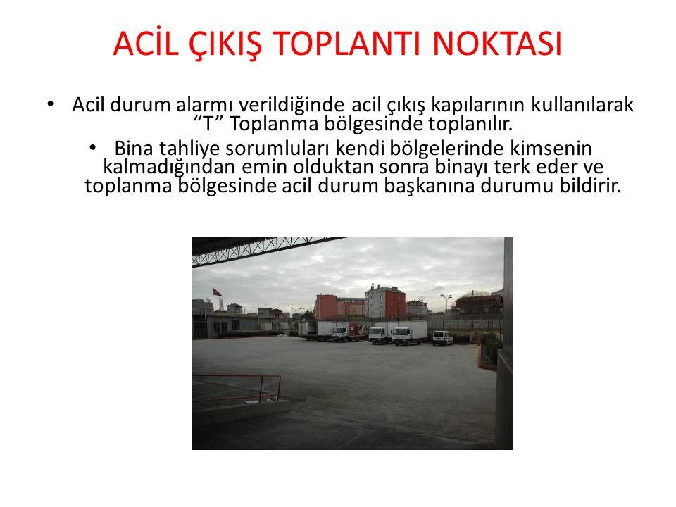 ACİL ÇIKIŞ TOPLANTI NOKTASI Acil durum alarmı verildiğinde acil çıkış kapılarının kullanılarak T Toplanma bölgesinde toplanılır.