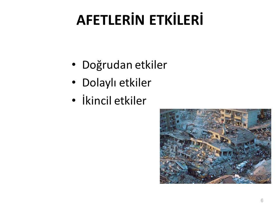 DOĞRUDAN ETKİLER Can kaybı Yaralanma Alt yapı hasarları Mal kayıpları Hayvan ve tarım ürünleri kayıpları Kültür mirası ve müzelerdeki kayıplar Kurtarma, ilk yardım ve geçici barınma çalışmaları giderleri Tedavi, beslenme ve giyinme giderleri Yapılardaki çeşitli hasarların onarım giderleri 7