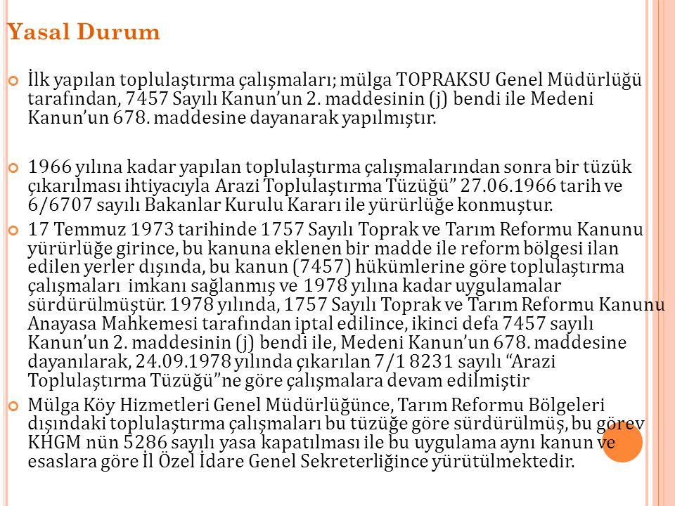 Yasal Durum İlk yapılan toplulaştırma çalışmaları; mülga TOPRAKSU Genel Müdürlüğü tarafından, 7457 Sayılı Kanun'un 2. maddesinin (j) bendi ile Medeni