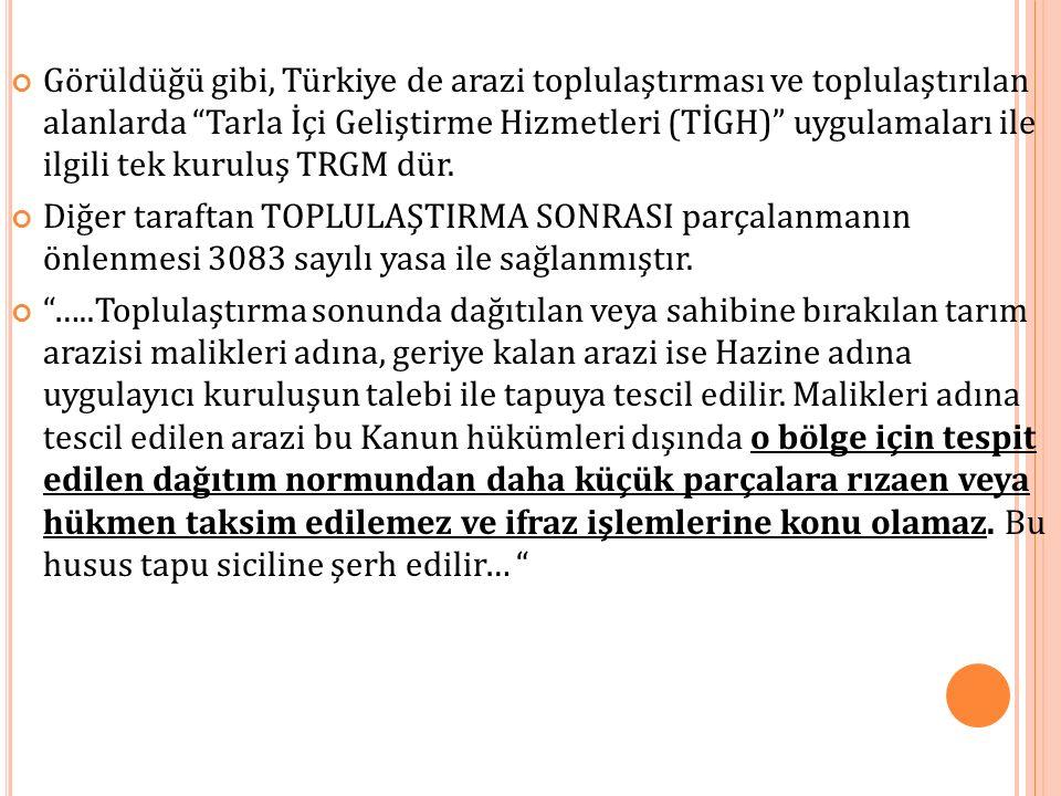 """Görüldüğü gibi, Türkiye de arazi toplulaştırması ve toplulaştırılan alanlarda """"Tarla İçi Geliştirme Hizmetleri (TİGH)"""" uygulamaları ile ilgili tek kur"""