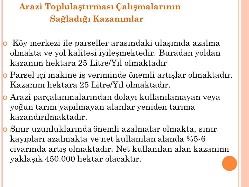 Türkiye'de sulamaya açılmış ve açılacak olan 7,5 milyon hektar arazinin tamamlandığında beklenen kazanım aşağıdaki gibi hesaplanmıştır.