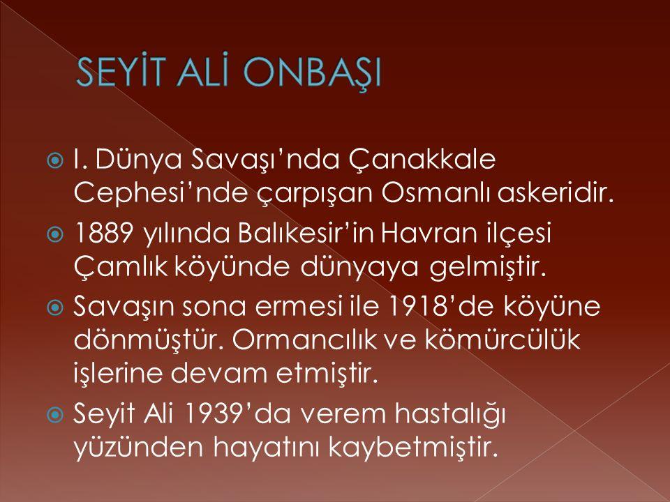  I. Dünya Savaşı'nda Çanakkale Cephesi'nde çarpışan Osmanlı askeridir.