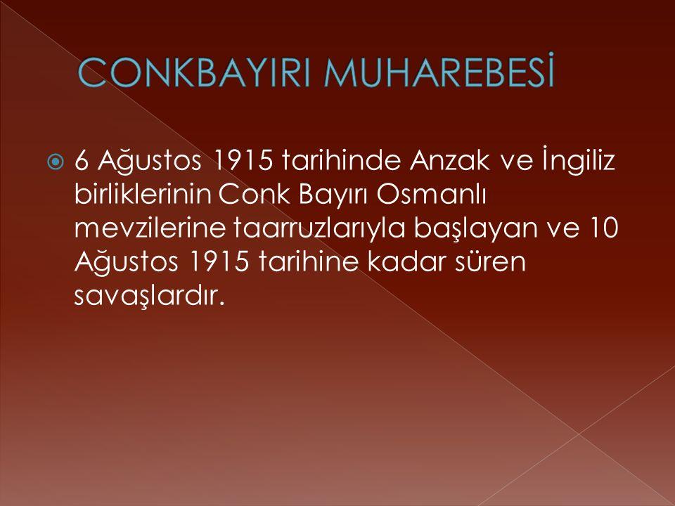  6 Ağustos 1915 tarihinde Anzak ve İngiliz birliklerinin Conk Bayırı Osmanlı mevzilerine taarruzlarıyla başlayan ve 10 Ağustos 1915 tarihine kadar süren savaşlardır.
