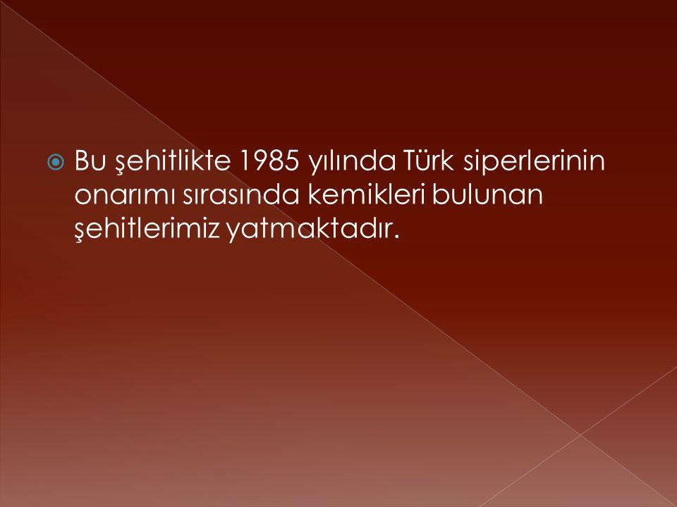  Bu şehitlikte 1985 yılında Türk siperlerinin onarımı sırasında kemikleri bulunan şehitlerimiz yatmaktadır.