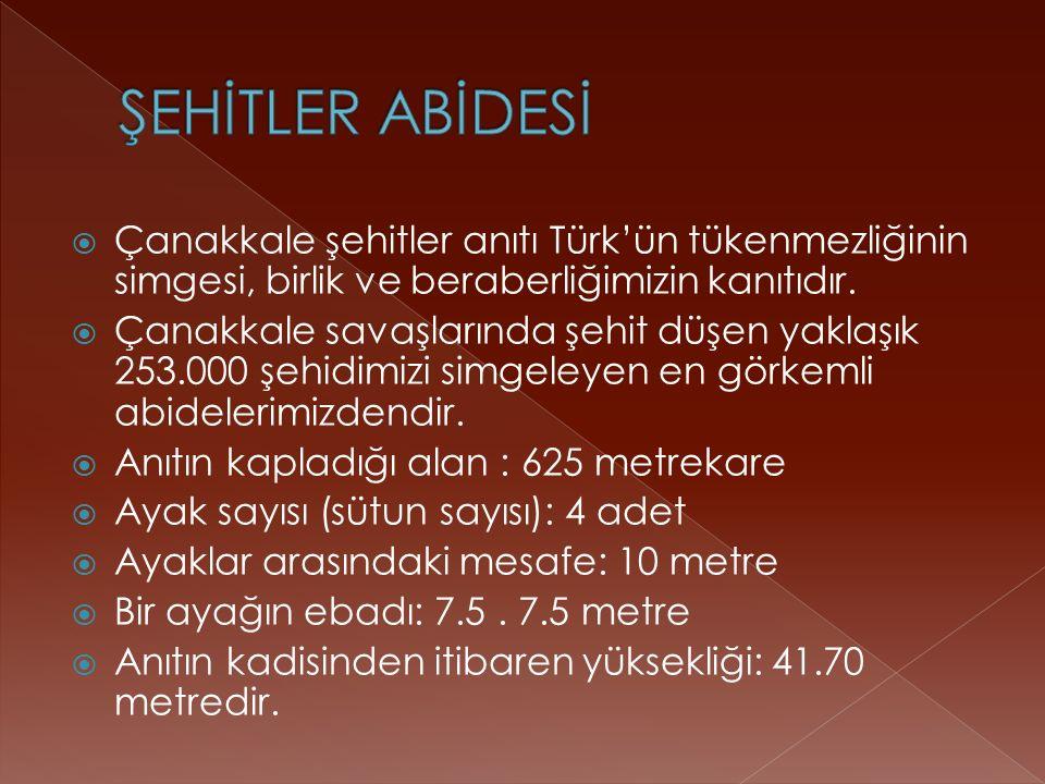  Çanakkale şehitler anıtı Türk'ün tükenmezliğinin simgesi, birlik ve beraberliğimizin kanıtıdır.