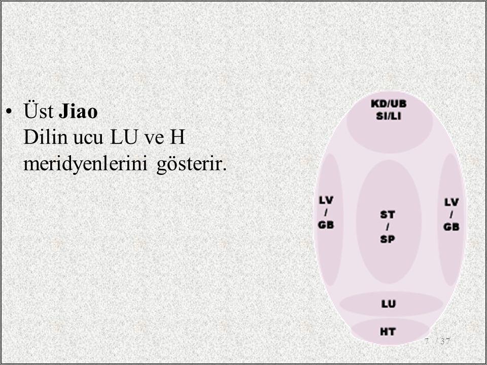 / 377 Üst Jiao Dilin ucu LU ve H meridyenlerini gösterir.