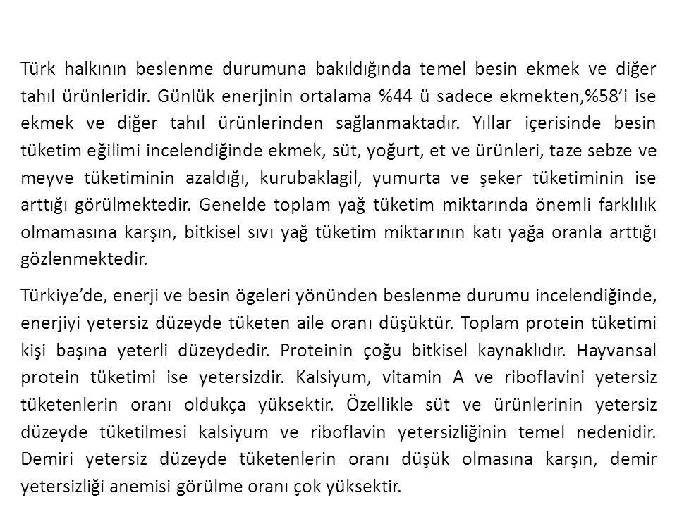 Türk halkının beslenme durumuna bakıldığında temel besin ekmek ve diğer tahıl ürünleridir. Günlük enerjinin ortalama %44 ü sadece ekmekten,%58'i ise e