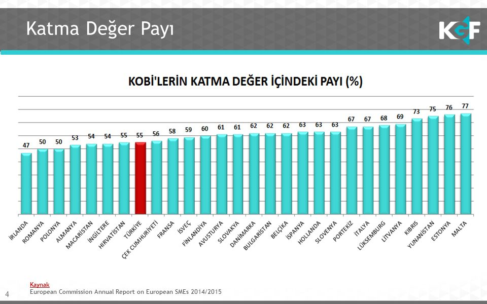 4 Katma Değer Payı Kaynak European Commission Annual Report on European SMEs 2014/2015