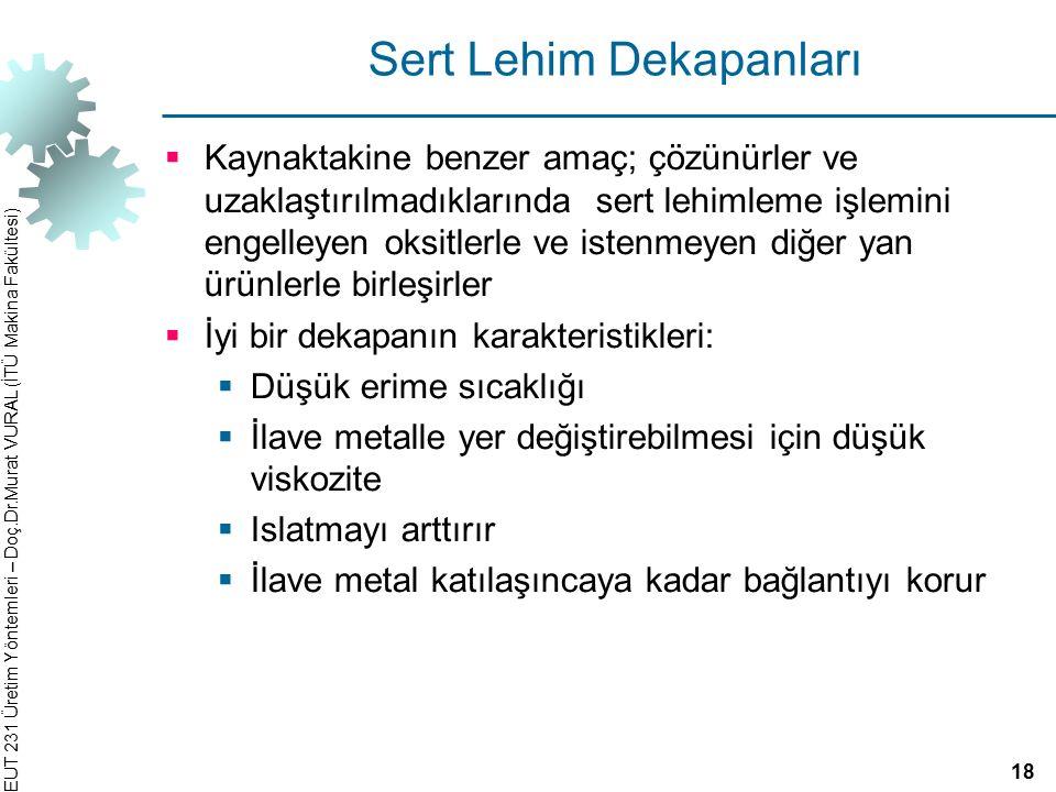 EUT 231 Üretim Yöntemleri – Doç.Dr.Murat VURAL (İTÜ Makina Fakültesi) Sert Lehim Dekapanları  Kaynaktakine benzer amaç; çözünürler ve uzaklaştırılmad