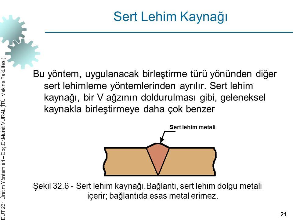EUT 231 Üretim Yöntemleri – Doç.Dr.Murat VURAL (İTÜ Makina Fakültesi) Sert Lehim Kaynağı Bu yöntem, uygulanacak birleştirme türü yönünden diğer sert l