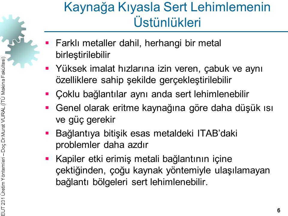 EUT 231 Üretim Yöntemleri – Doç.Dr.Murat VURAL (İTÜ Makina Fakültesi) Kaynağa Kıyasla Sert Lehimlemenin Üstünlükleri  Farklı metaller dahil, herhangi