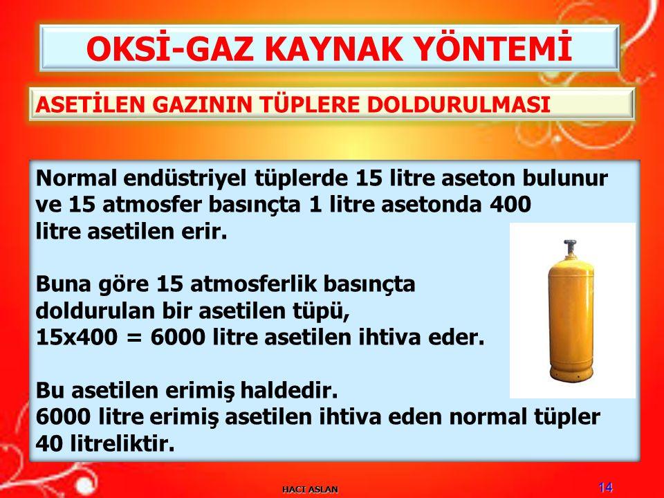 HACI ASLAN 14 OKSİ-GAZ KAYNAK YÖNTEMİ Normal endüstriyel tüplerde 15 litre aseton bulunur ve 15 atmosfer basınçta 1 litre asetonda 400 litre asetilen erir.
