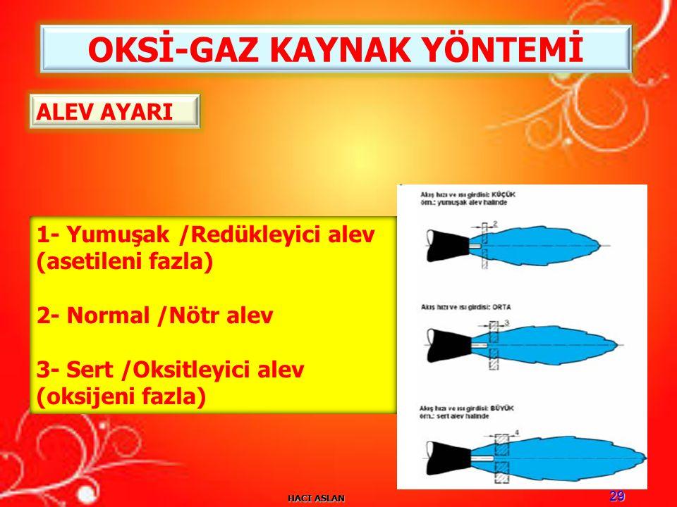 HACI ASLAN 29 OKSİ-GAZ KAYNAK YÖNTEMİ ALEV AYARI 1- Yumuşak /Redükleyici alev (asetileni fazla) 2- Normal /Nötr alev 3- Sert /Oksitleyici alev (oksijeni fazla)