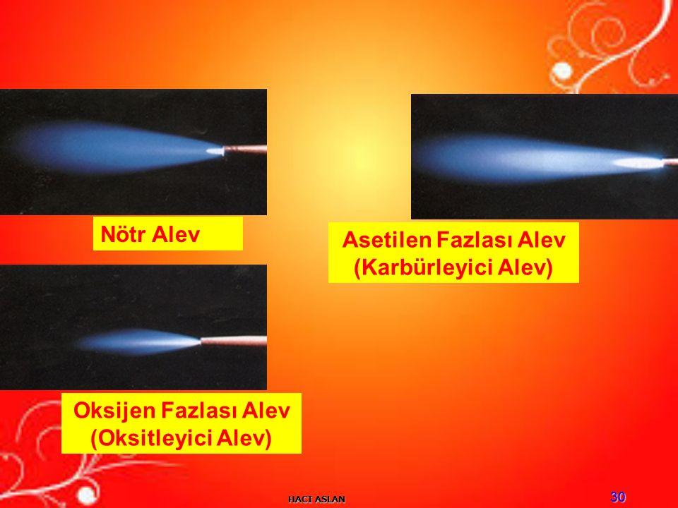 HACI ASLAN 30 Nötr Alev Asetilen Fazlası Alev (Karbürleyici Alev) Oksijen Fazlası Alev (Oksitleyici Alev)