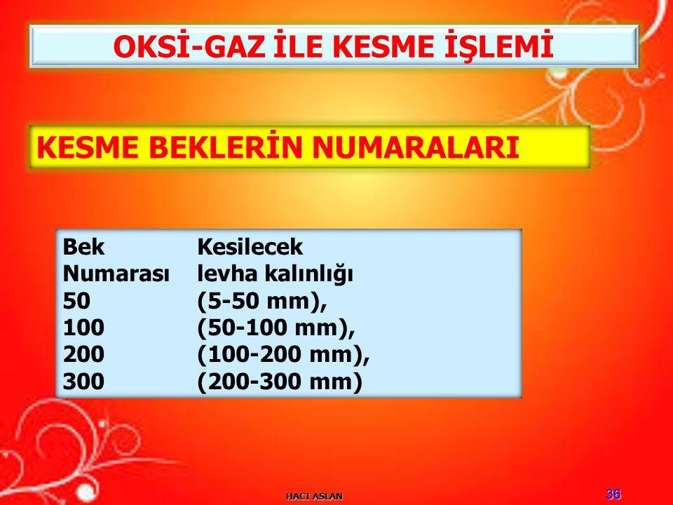 HACI ASLAN 36 KESME BEKLERİN NUMARALARI Bek Kesilecek Numarası levha kalınlığı 50 (5-50 mm), 100 (50-100 mm), 200 (100-200 mm), 300 (200-300 mm) OKSİ-GAZ İLE KESME İŞLEMİ