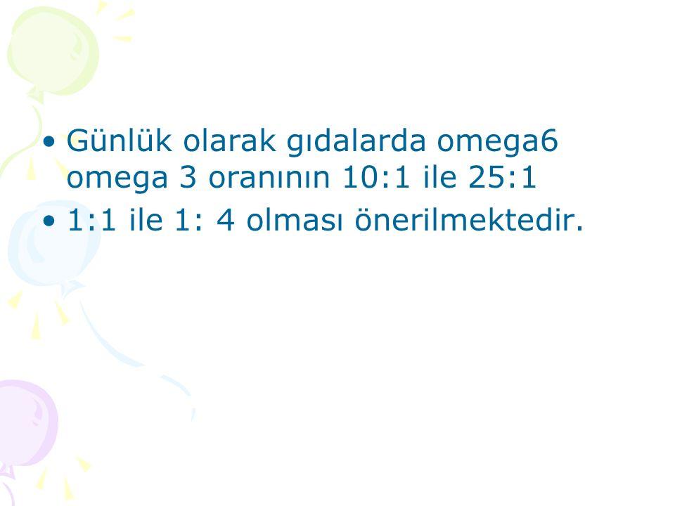 Günlük olarak gıdalarda omega6 omega 3 oranının 10:1 ile 25:1 1:1 ile 1: 4 olması önerilmektedir.