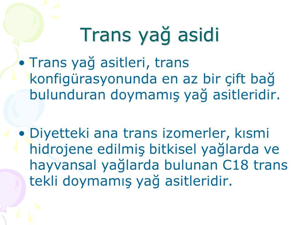 Trans yağ asidi Trans yağ asitleri, trans konfigürasyonunda en az bir çift bağ bulunduran doymamış yağ asitleridir.