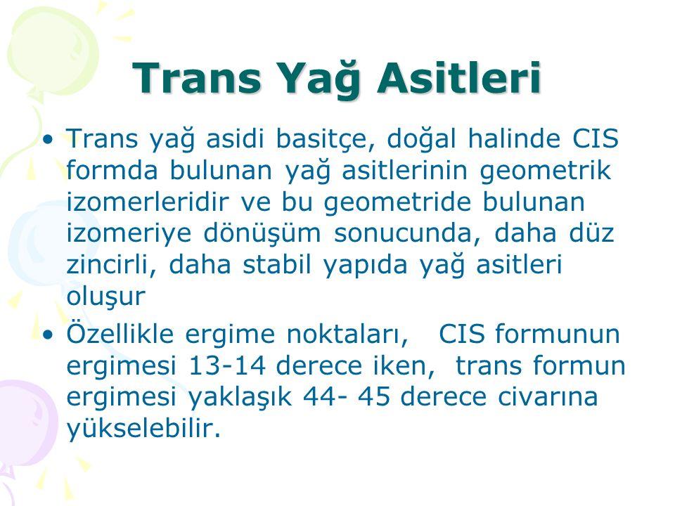 Trans Yağ Asitleri Trans yağ asidi basitçe, doğal halinde CIS formda bulunan yağ asitlerinin geometrik izomerleridir ve bu geometride bulunan izomeriye dönüşüm sonucunda, daha düz zincirli, daha stabil yapıda yağ asitleri oluşur Özellikle ergime noktaları, CIS formunun ergimesi 13-14 derece iken, trans formun ergimesi yaklaşık 44- 45 derece civarına yükselebilir.