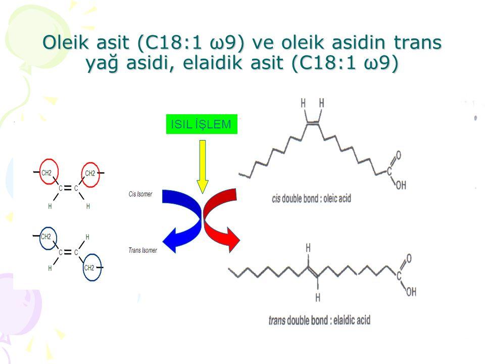Oleik asit (C18:1 ω9) ve oleik asidin trans yağ asidi, elaidik asit (C18:1 ω9) ISIL İŞLEM