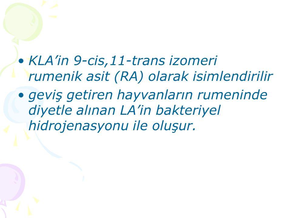 KLA'in 9-cis,11-trans izomeri rumenik asit (RA) olarak isimlendirilir geviş getiren hayvanların rumeninde diyetle alınan LA'in bakteriyel hidrojenasyonu ile oluşur.