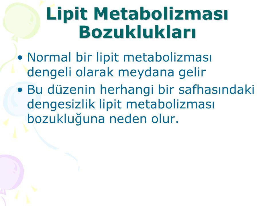 Lipit Metabolizması Bozuklukları Normal bir lipit metabolizması dengeli olarak meydana gelir Bu düzenin herhangi bir safhasındaki dengesizlik lipit metabolizması bozukluğuna neden olur.