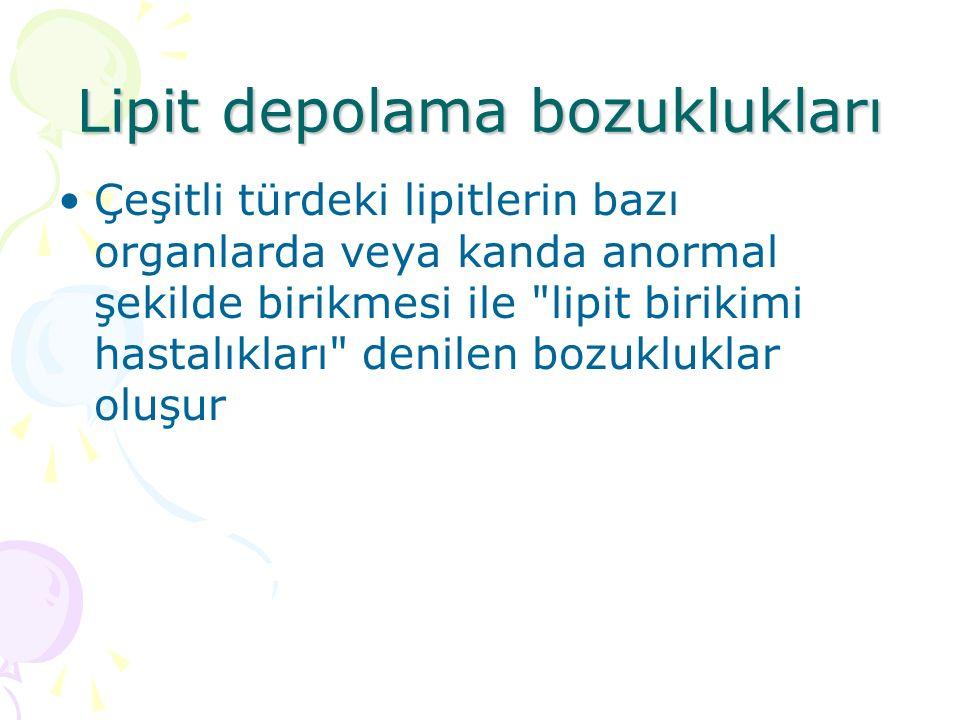 Lipit depolama bozuklukları Çeşitli türdeki lipitlerin bazı organlarda veya kanda anormal şekilde birikmesi ile lipit birikimi hastalıkları denilen bozukluklar oluşur