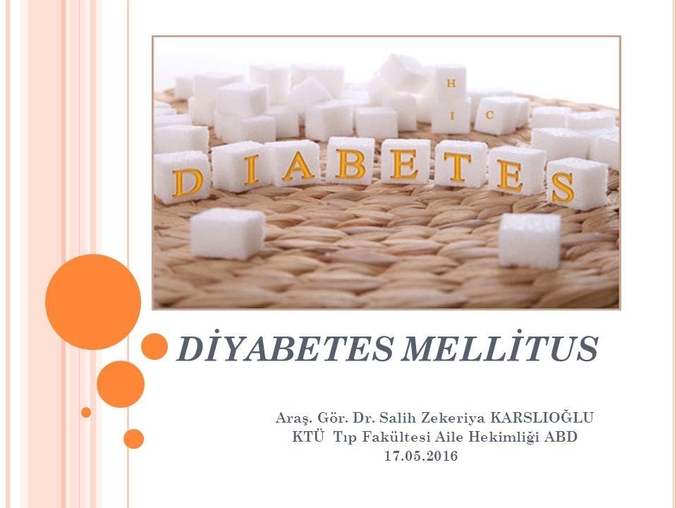 AMAÇ Diyabetes mellitus (DM) prediyabet tanısını koyabilmeli, DM tarama endikasyonlarını sayabilmeli, Oral glukoz tolerans testi(OGTT) endikasyonlarını sayabilmeli, Gestasyonel diyabet (GDM) tanısı koyabilmeli, DM gelişmesini engellemede kullanılan tıbbi beslenme ve fizisel aktivite önerilerini bilmeli DM hastasının takibinde istenilen laboratuvar tetkiklerini sayabilmeli