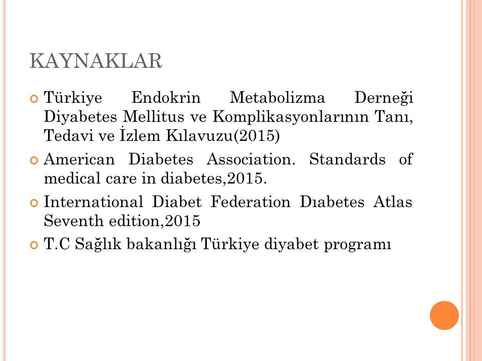 KAYNAKLAR Türkiye Endokrin Metabolizma Derneği Diyabetes Mellitus ve Komplikasyonlarının Tanı, Tedavi ve İzlem Kılavuzu(2015) American Diabetes Associ
