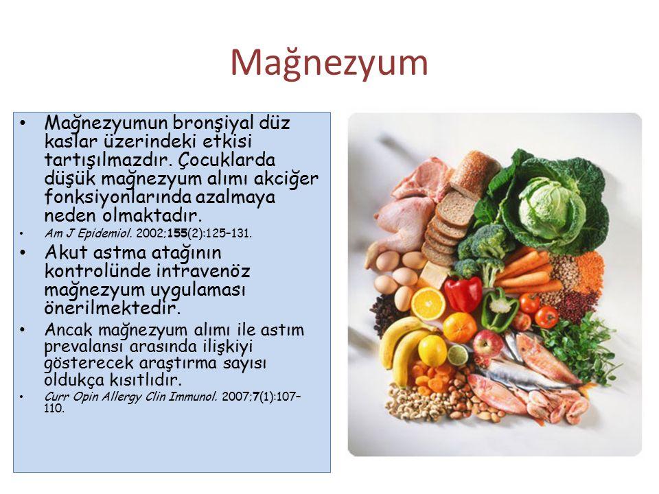 Mağnezyum Mağnezyumun bronşiyal düz kaslar üzerindeki etkisi tartışılmazdır. Çocuklarda düşük mağnezyum alımı akciğer fonksiyonlarında azalmaya neden