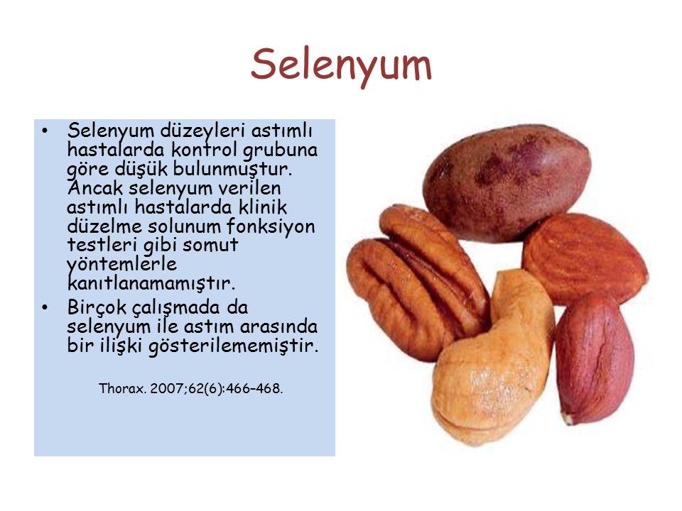 Selenyum Selenyum düzeyleri astımlı hastalarda kontrol grubuna göre düşük bulunmuştur. Ancak selenyum verilen astımlı hastalarda klinik düzelme solunu