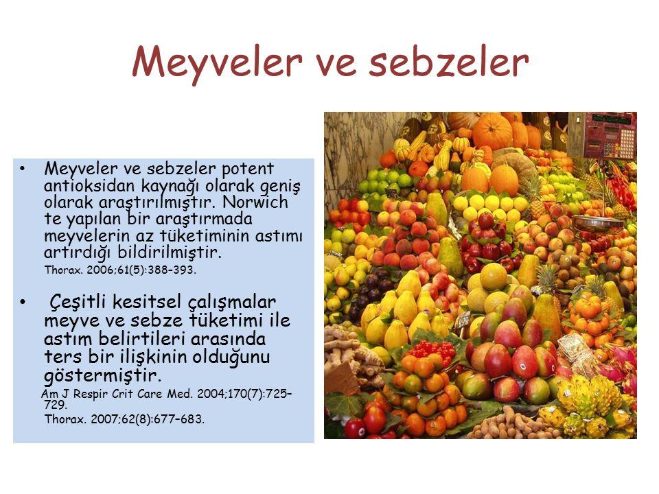 Meyveler ve sebzeler Meyveler ve sebzeler potent antioksidan kaynağı olarak geniş olarak araştırılmıştır. Norwich te yapılan bir araştırmada meyveleri