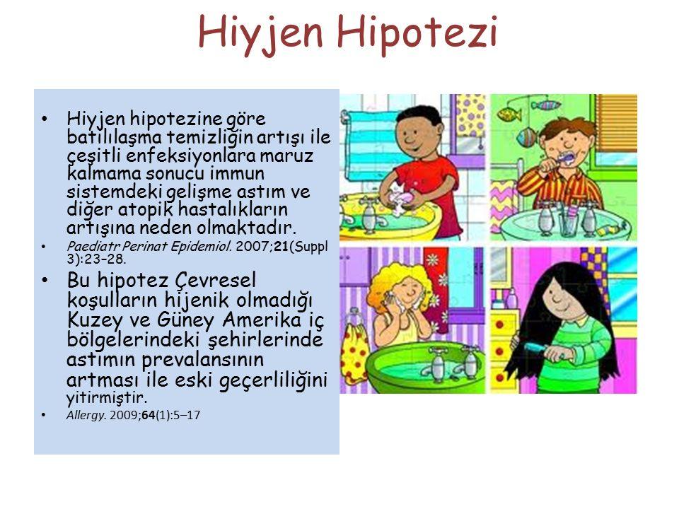 Hiyjen Hipotezi Hiyjen hipotezine göre batılılaşma temizliğin artışı ile çeşitli enfeksiyonlara maruz kalmama sonucu immun sistemdeki gelişme astım ve