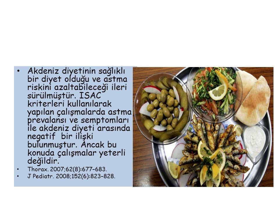 Akdeniz diyetinin sağlıklı bir diyet olduğu ve astma riskini azaltabileceği ileri sürülmüştür. ISAC kriterleri kullanılarak yapılan çalışmalarda astma