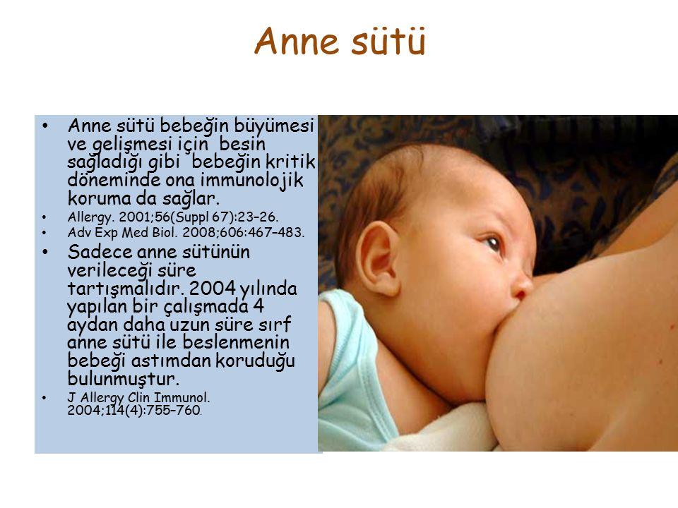Anne sütü Anne sütü bebeğin büyümesi ve gelişmesi için besin sağladığı gibi bebeğin kritik döneminde ona immunolojik koruma da sağlar. Allergy. 2001;5