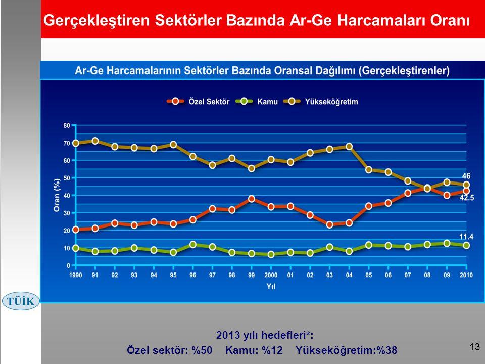 13 Gerçekleştiren Sektörler Bazında Ar-Ge Harcamaları Oranı 2013 yılı hedefleri*: Özel sektör: %50 Kamu: %12 Yükseköğretim:%38