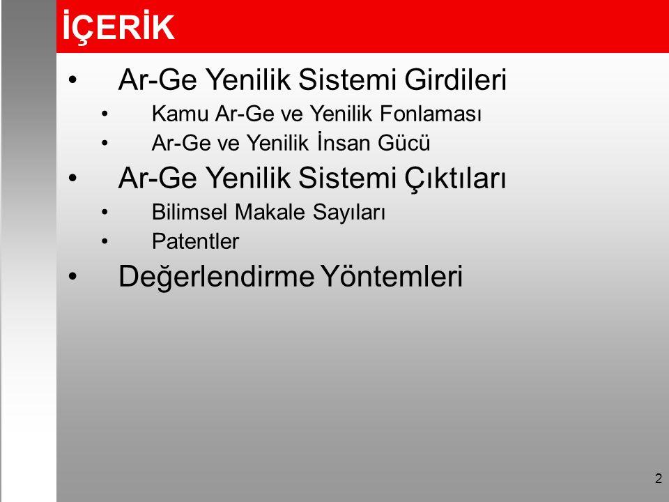 2 İÇERİK Ar-Ge Yenilik Sistemi Girdileri Kamu Ar-Ge ve Yenilik Fonlaması Ar-Ge ve Yenilik İnsan Gücü Ar-Ge Yenilik Sistemi Çıktıları Bilimsel Makale Sayıları Patentler Değerlendirme Yöntemleri