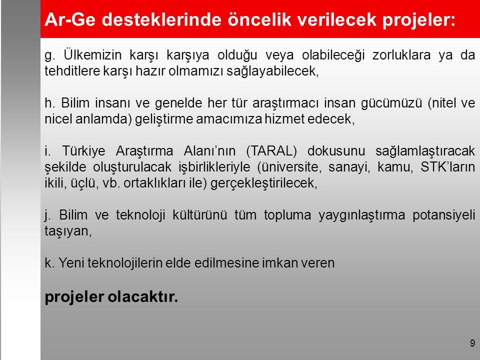 9 Ar-Ge desteklerinde öncelik verilecek projeler: g.